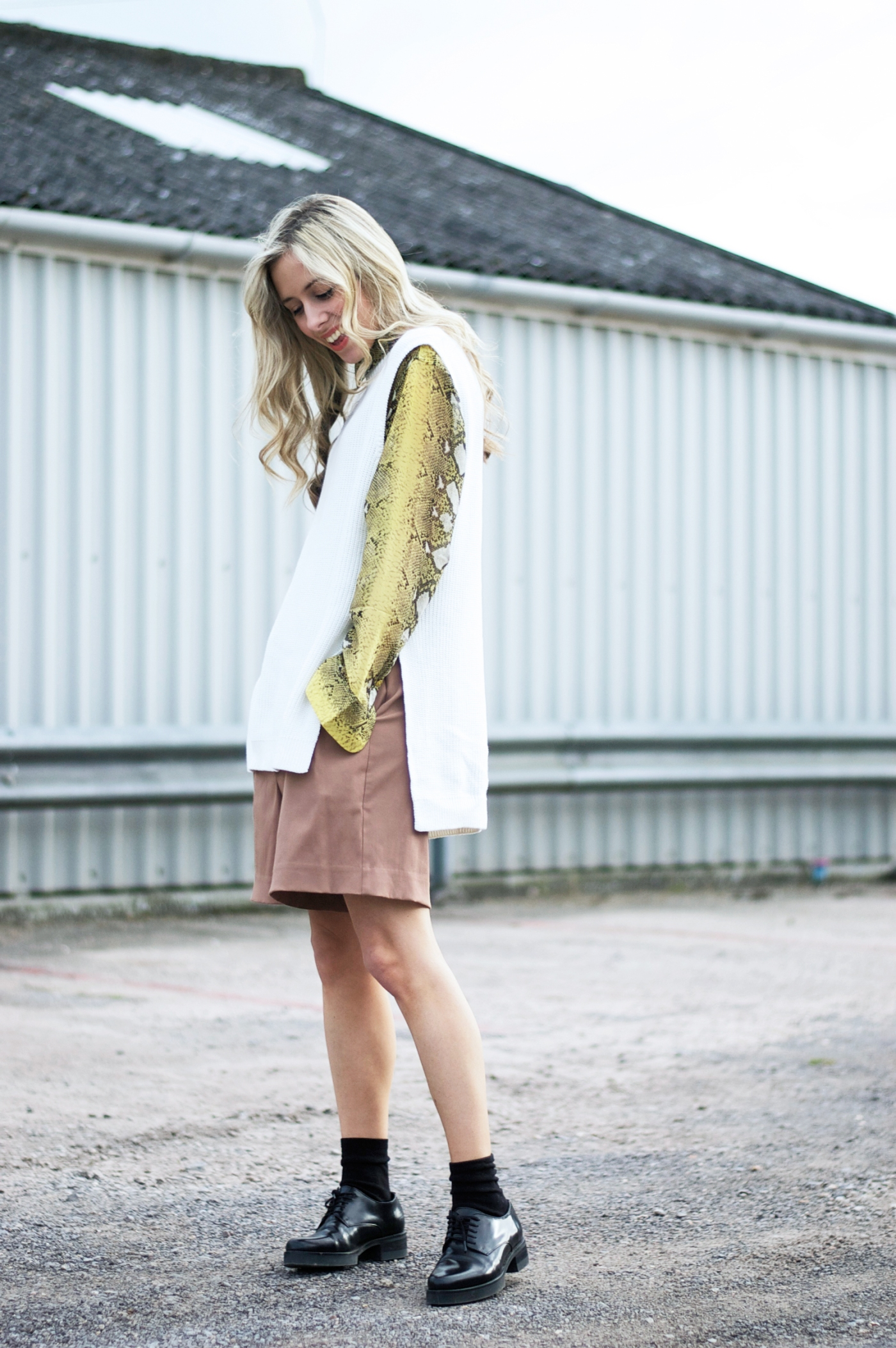 Adding some colourful snake print to my outfit.