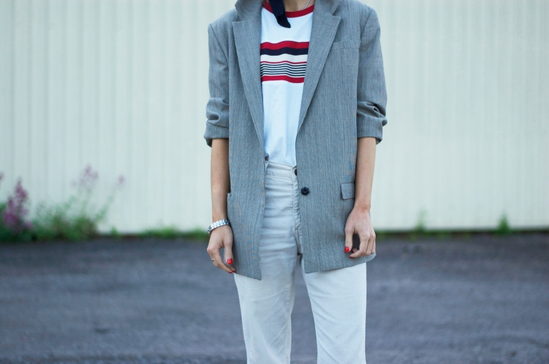 Stripe top with and oversized blazer & heels