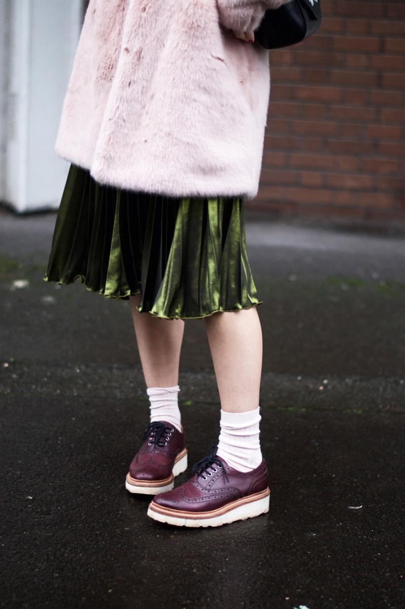 Green Metallic Pleated Dress & Pink Faux Fur