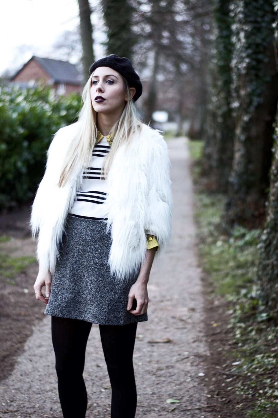 Faux Fur Jacket Wearing! With a Beret On Top