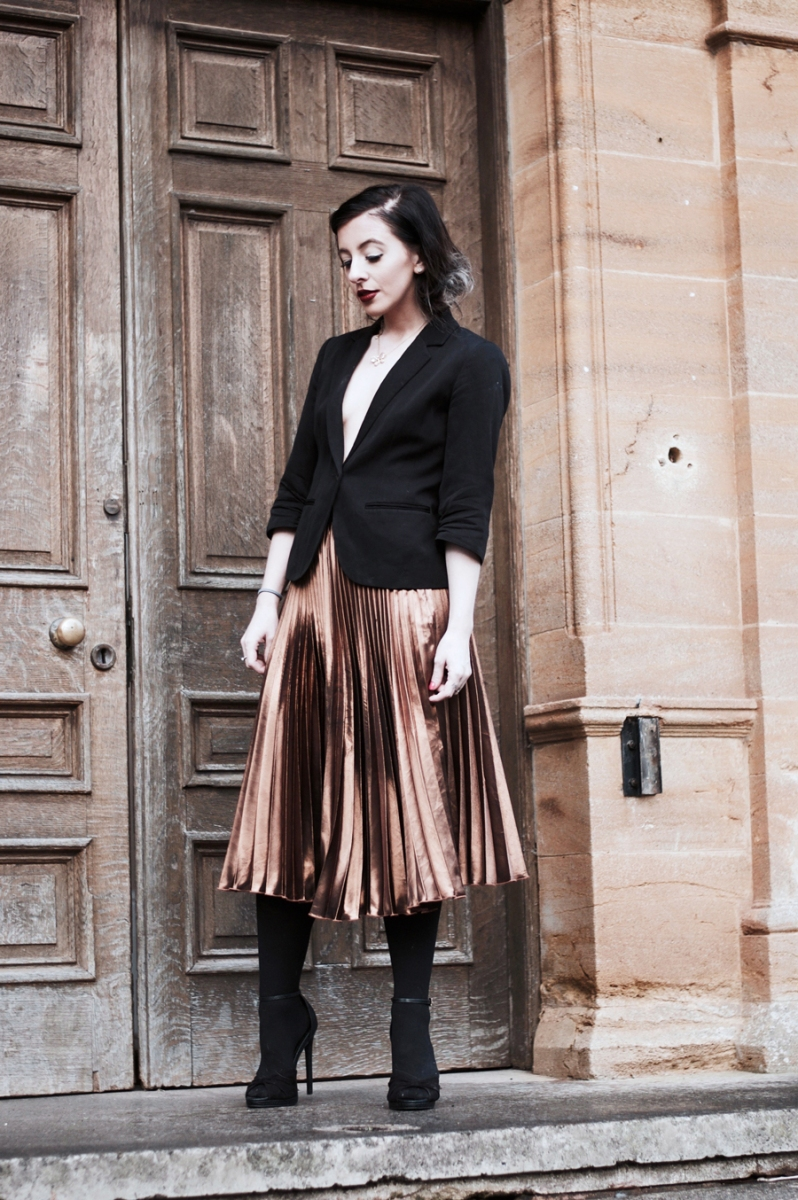 My Sister Trinity & Her Bronzed Pleated Skirt