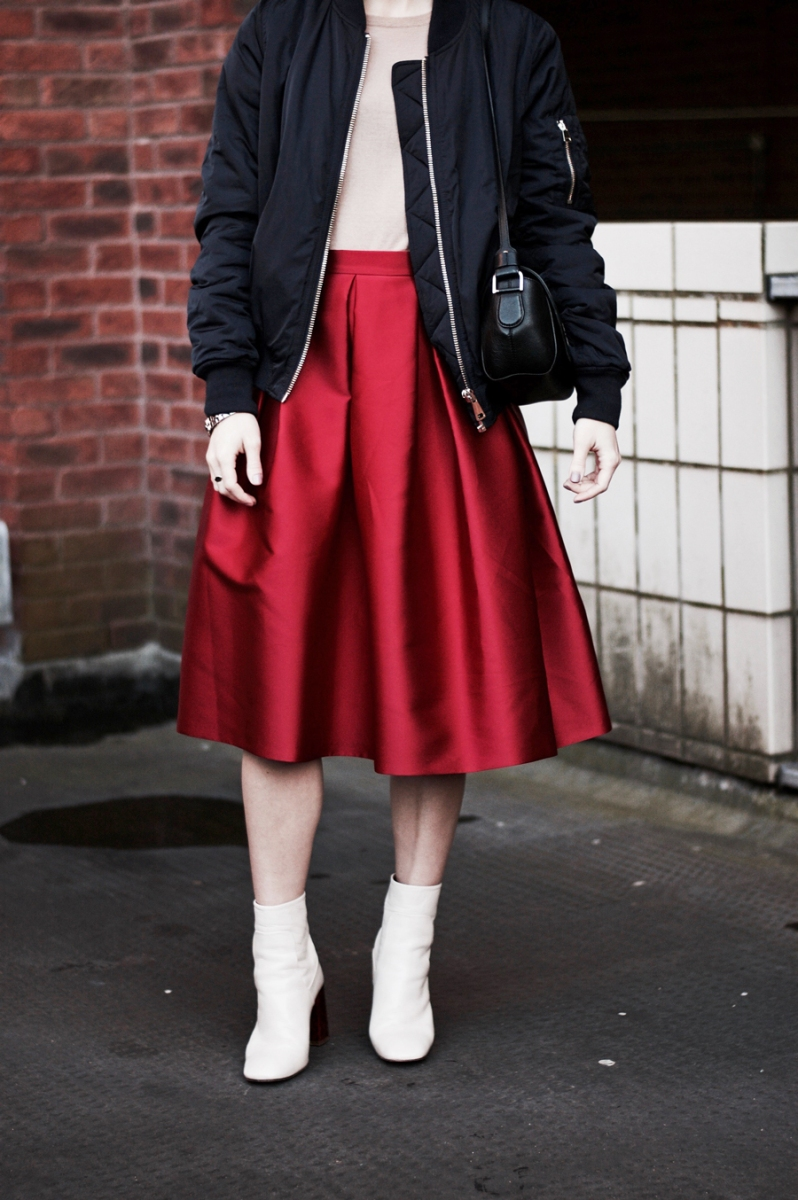Styling The Full Skirt With The Bomber Jacket